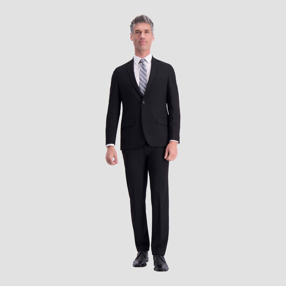 Image of Haggar H26 Men's Big & Tall Slim Fit Premium Stretch Suit Jacket - Black 44 Regular