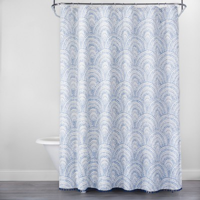 Scallop Stitch with Pom Fringe Shower Curtain Blue/White - Opalhouse™