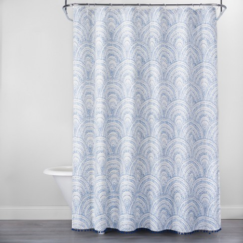 Scallop Stitch with Pom Fringe Shower Curtain Blue/White - Opalhouse™ - image 1 of 3