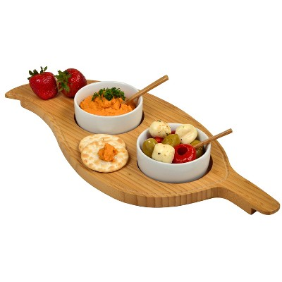 "Picnic at Ascot Patented Bamboo Cheese & Charcuterie Board - Stores as a Compact Wedge- Opens to 13"" Diameter"