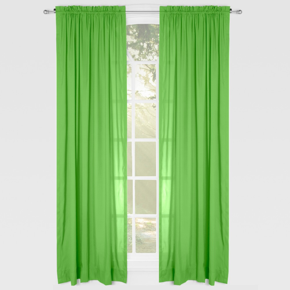 "Image of ""Green Solid 84"""" Rod Pocket Single Curtain Panel - Leaning Linens"""
