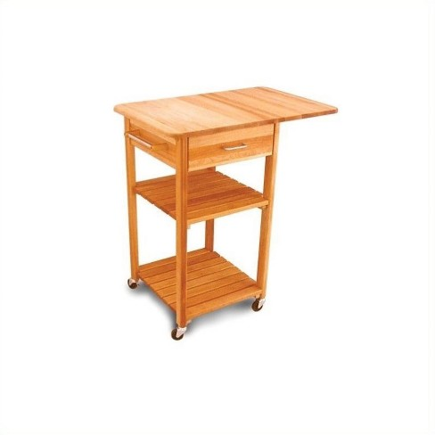 Wood Drop Leaf Butcher Block Kitchen Cart in Natural Finish Brown -  Pemberly Row
