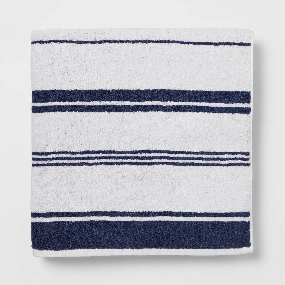 Performance Bath Sheet Navy Stripe Threshold 8482
