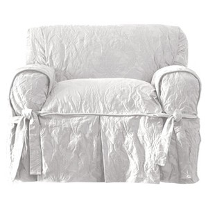 White Matelasse Damask Chair - Sure Fit