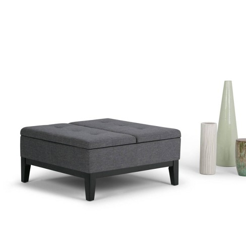 Peachy Lancaster Square Coffee Table Storage Ottoman Slate Gray Caraccident5 Cool Chair Designs And Ideas Caraccident5Info