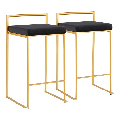 Set of 2 Fuji Contemporary Barstools Gold/Black Velvet - LumiSource - image 1 of 4