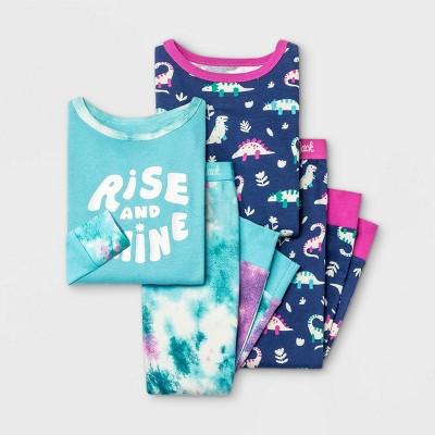 Toddler Girls' 4pc Tie-Dye Dino Snug Fit Pajama Set - Cat & Jack™ Blue