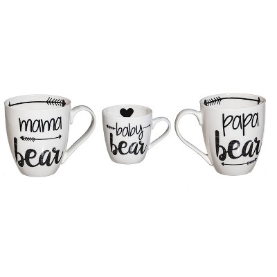 Cypress Home Beautiful Bear Family Ceramic Cup O' Java Cup Gift Set - 6 x 4 x 4 Inches Indoor/Outdoor home goods For Kit
