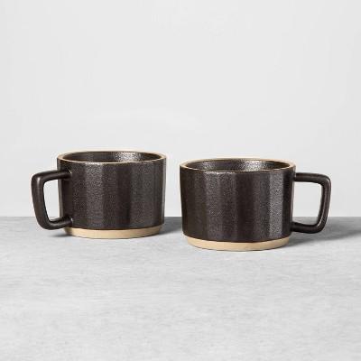2pk Stoneware Latte Mug Black - Hearth & Hand™ with Magnolia