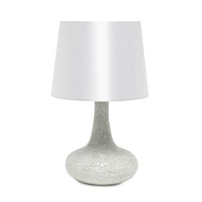 Mosaic Tiled Glass Genie Table Lamp with Fabric Shade White - Simple Designs