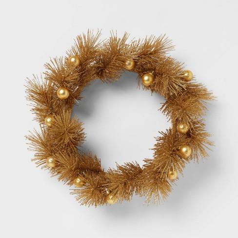 "14"" Christmas Glitter Wreath Gold - Opalhouse™ - image 1 of 3"