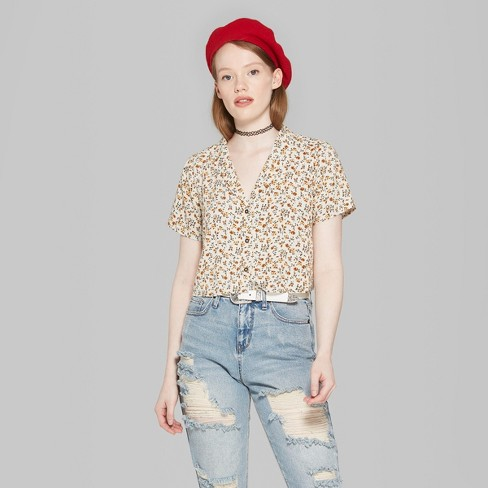 08ccdb0f Women's Floral Print Short Sleeve Cropped Button-Down Shirt - Wild Fable™  Cream XS