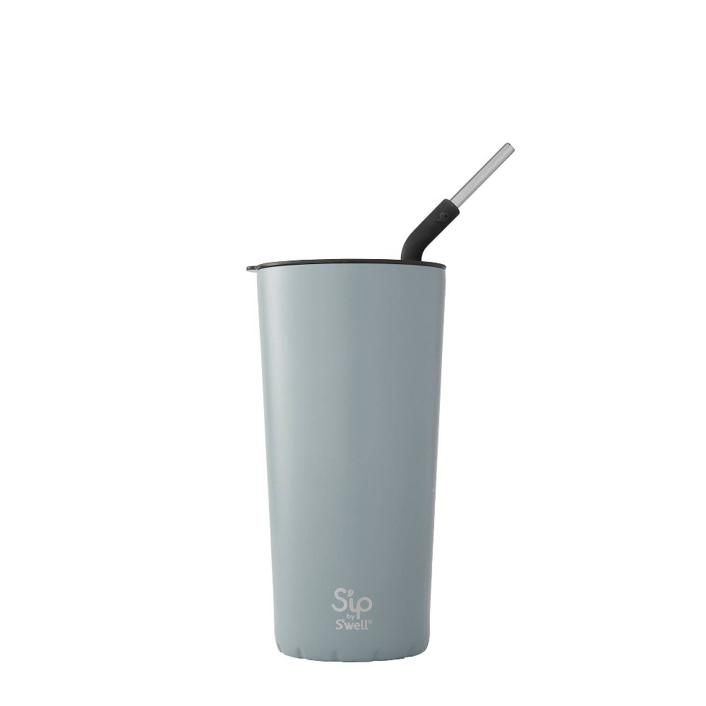 Image of S'ip by S'well Vacuum Insulated Stainless Steel Takeaway Tumbler with Stainless Steel Straw 24oz - Cadet Blue