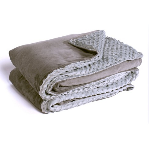 Yogasleep Premium Weighted Blanket Removable Minky Cover Charcoal Light Grey 20 Lbs Target