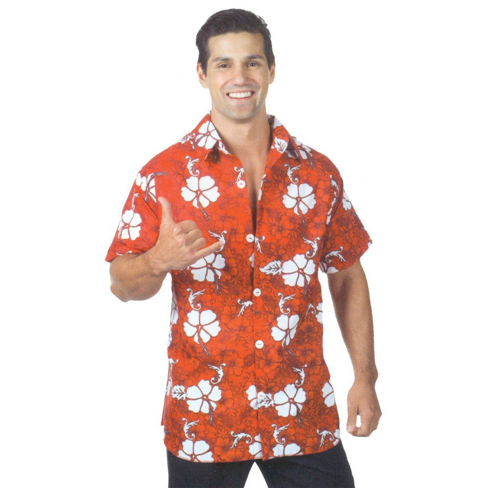 Image of Halloween Adult Hawaiian Shirt Costume Red, Men's, Size: One Size