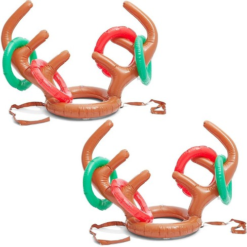 Christmas Inflatable Reindeer Antler Ring Toss Game, Includes 2 Hats & 24 Rings for Holiday Party Supplies, Winter Fun Family Activity - image 1 of 4
