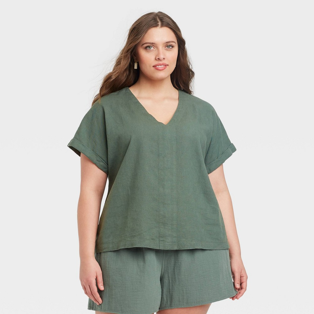 Women 39 S Plus Size Short Sleeve Blouse Universal Thread 8482 Green Olive 1x