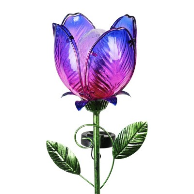"""35.8"""" Metal and Glass Solar Flower Stake Purple - Exhart"""
