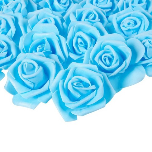 Juvale Rose Flower Heads - 100-Pack Artificial Roses, Perfect Wedding Decorations, Baby Showers, Crafts - Blue, 3 x 1.25 x 3 inches - image 1 of 4