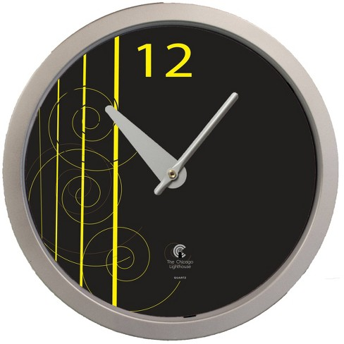 """14.5"""" Artist Series David Williams Decorative Clock Silver - The Chicago Lighthouse - image 1 of 3"""