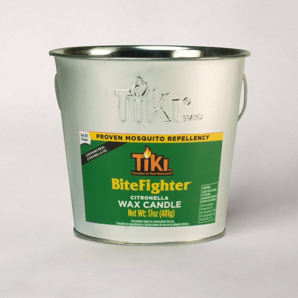 Image of Tiki Brand 17oz Bitefighter Galvanized Citronella Wax Candle Metal Bucket Silver