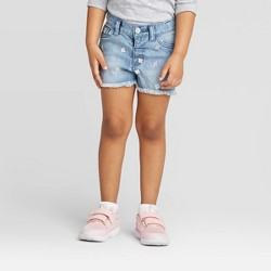 Toddler Girls' Daisy Embroidered Cutoff Jean Shorts - Cat & Jack™ Blue