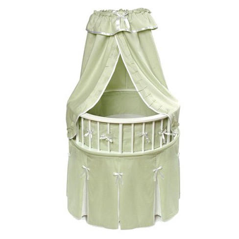 Badger Basket White Elegance Round Bassinet with Bedding - Sage Waffle - image 1 of 1