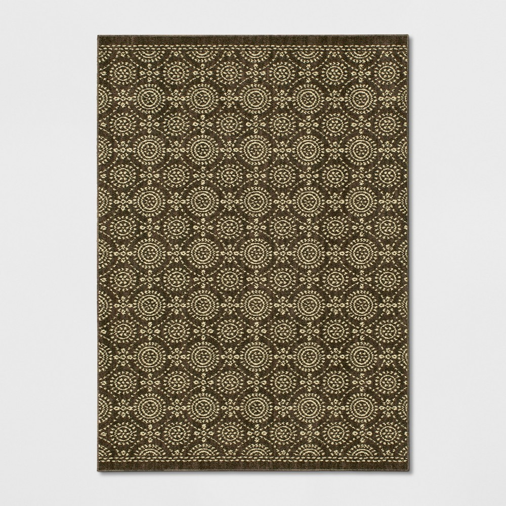 Circle Pattern Tufted Area Rug Brown