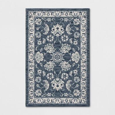 """2'6""""X3'10"""" Floral Tufted Accent Rug Blue - Threshold™"""