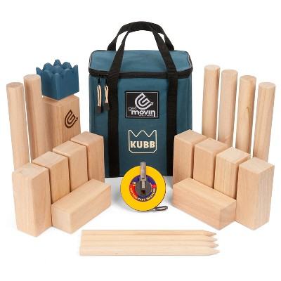 GetMovin' Sports Kubb Ultimate Outdoor Viking Chess Family Fun Giant Yard Game for All Ages and Skill Levels