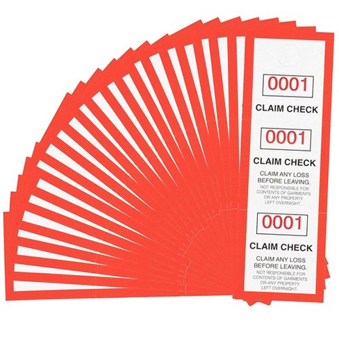 """Juvale 1000-Pack Paper Coat Room Check Claim Tags Tickets 3-Part with Serial Numbers 1-1000 4.75""""x1.5"""" - image 1 of 3"""