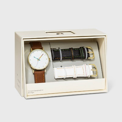 Women's Rainbow Dial Strap Watch with Changeable Straps - A New Day™ Brown/Black/White