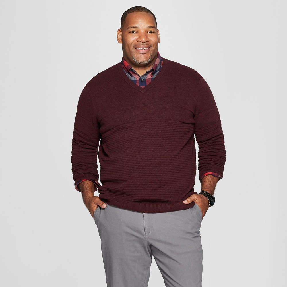 Men's Big & Tall Long Sleeve V-Neck Sweater - Goodfellow & Co Burgundy Heather 2XB, Red