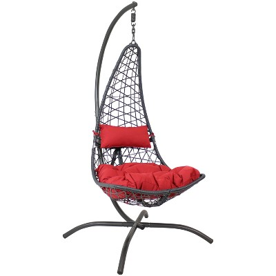 Sunnydaze Outdoor Resin Wicker Patio Phoebe Hanging Basket Egg Chair Swing with Cushions and Headrest - Red - 2pc