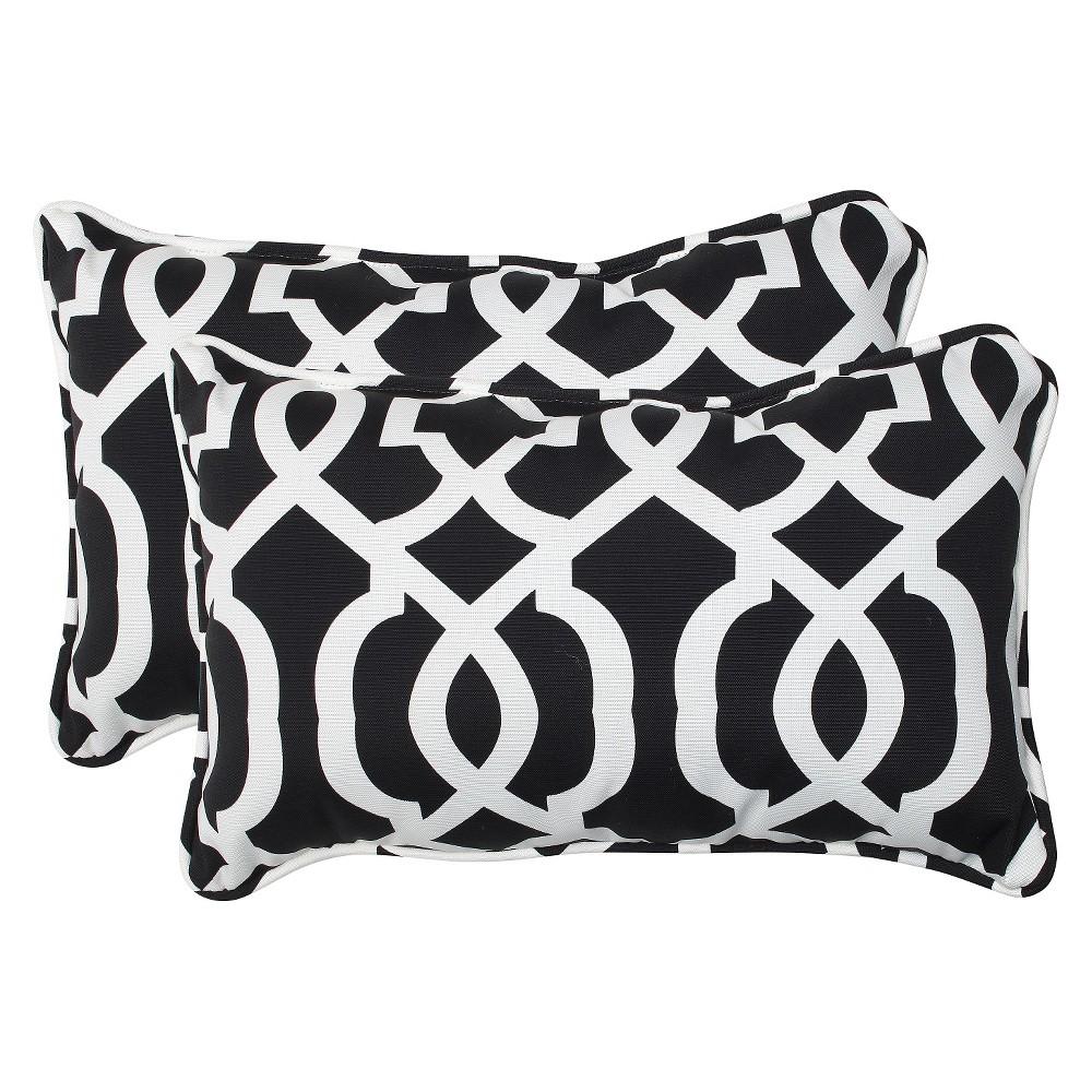 2pc Rectangular Outdoor Decorative Throw Pillow Set - Black/White - Pillow Perfect