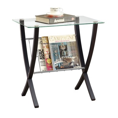 Accent Table - Cappuccino with Tempered Glass - EveryRoom