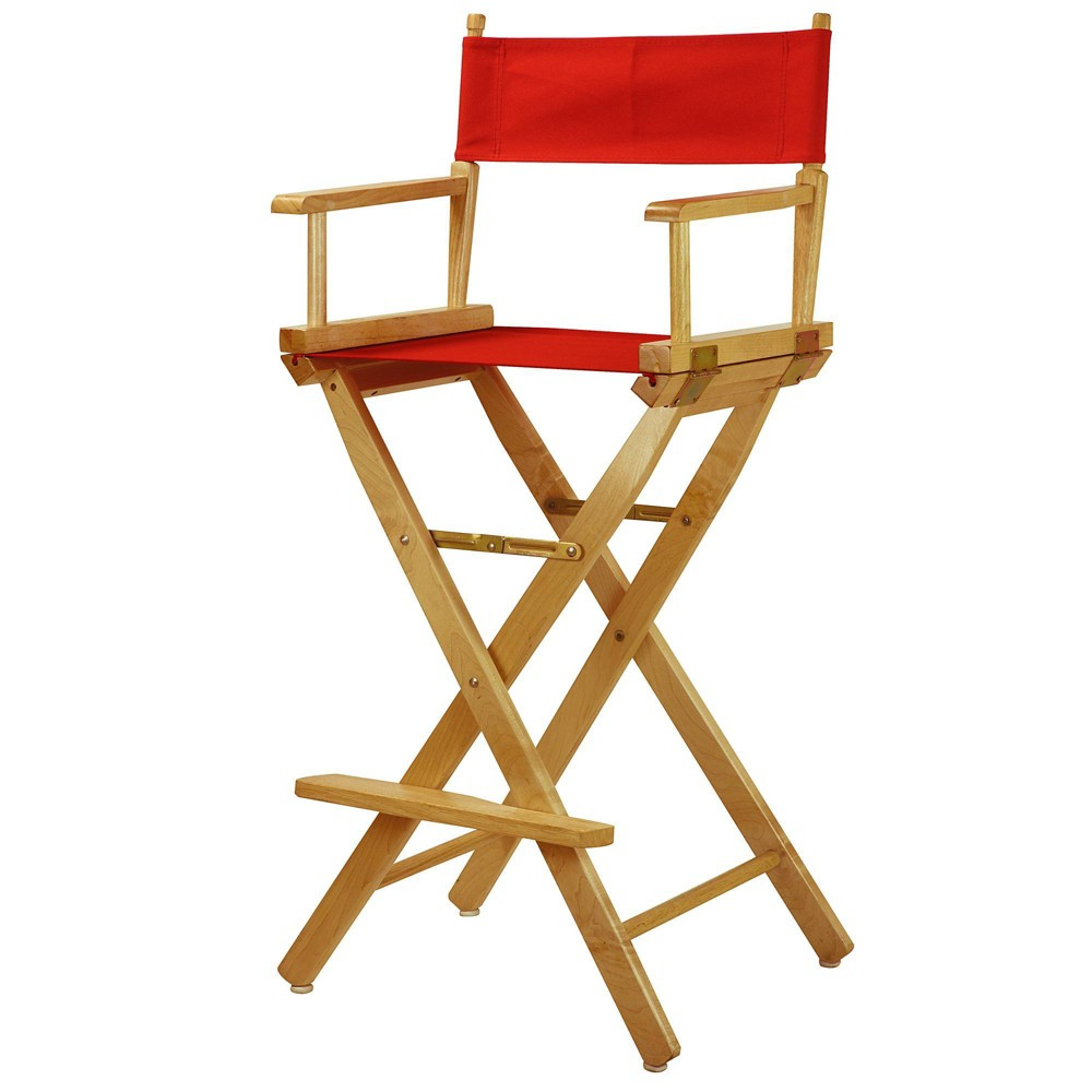 Bar Height Director S Chair Natural Frame Red Canvas