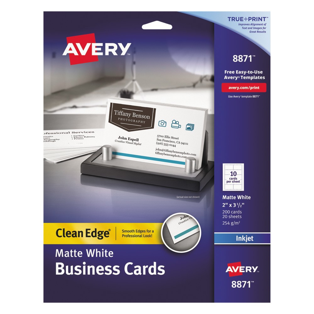 Avery Inkjet Two-Sided Printable Clean Edge Business Cards - White (200 pk)