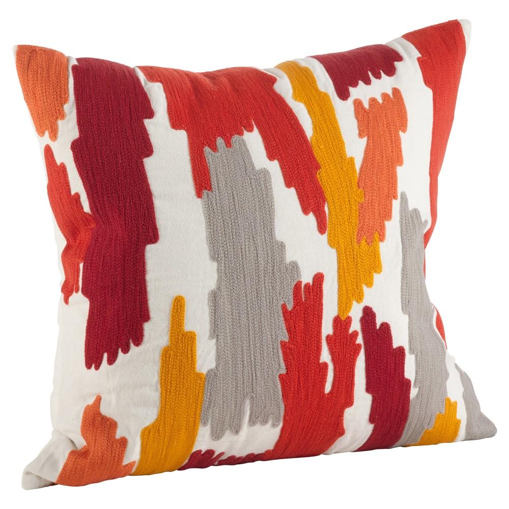 Rust (Red) Embroidered Brushstroke Throw Pillow (20) - Saro Lifestyle
