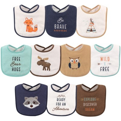 Hudson Baby Infant Boy Cotton Terry Drooler Bibs with Fiber Filling 10pk, Raccoon, One Size