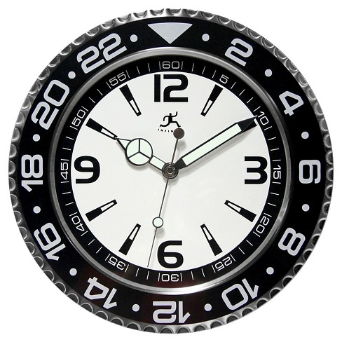The Bazel Wall Round Clock Silver/Black - Infinity Instruments® - image 1 of 2