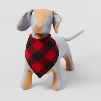 Buffalo Check Brushed Wool-like Dog Fleece Bandana - Red - Wondershop™