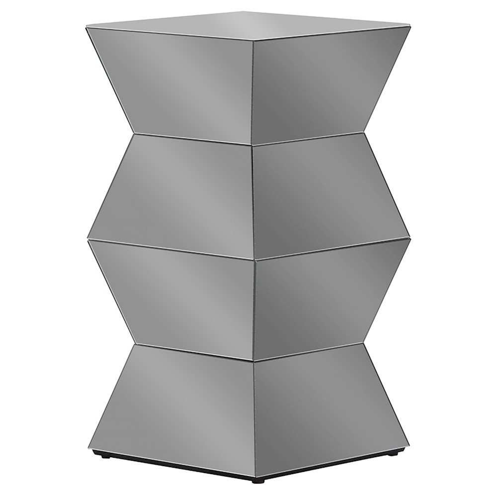 Sakina Contemporary Multi-Faceted Mirrored Side Table - Baxton Studio, Light Silver