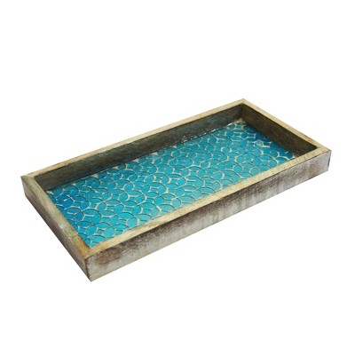 Mosaic Wooden Tray Gold - Nu Steel