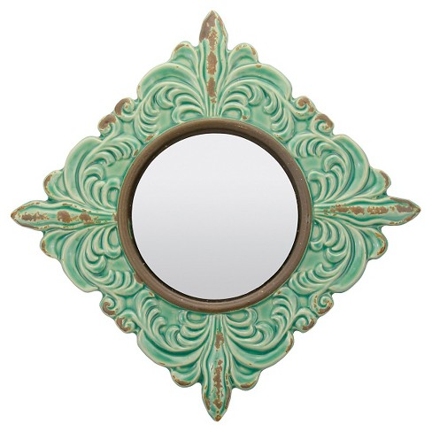 Round Pale Ocean Decorative Wall Mirror Honey Dew - CKK Home Decor - image 1 of 4