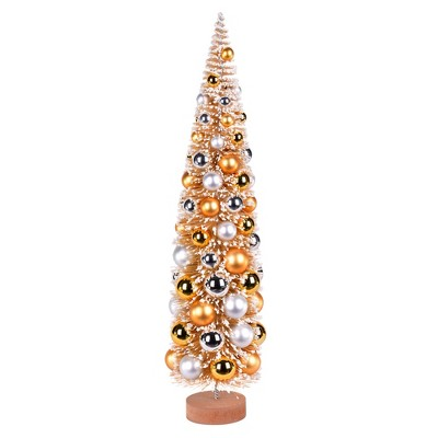 """Vickerman 24"""" Vintage Tabletop Frosted Gold Artificial Christmas Tree, Gold, Silver Ornament"""