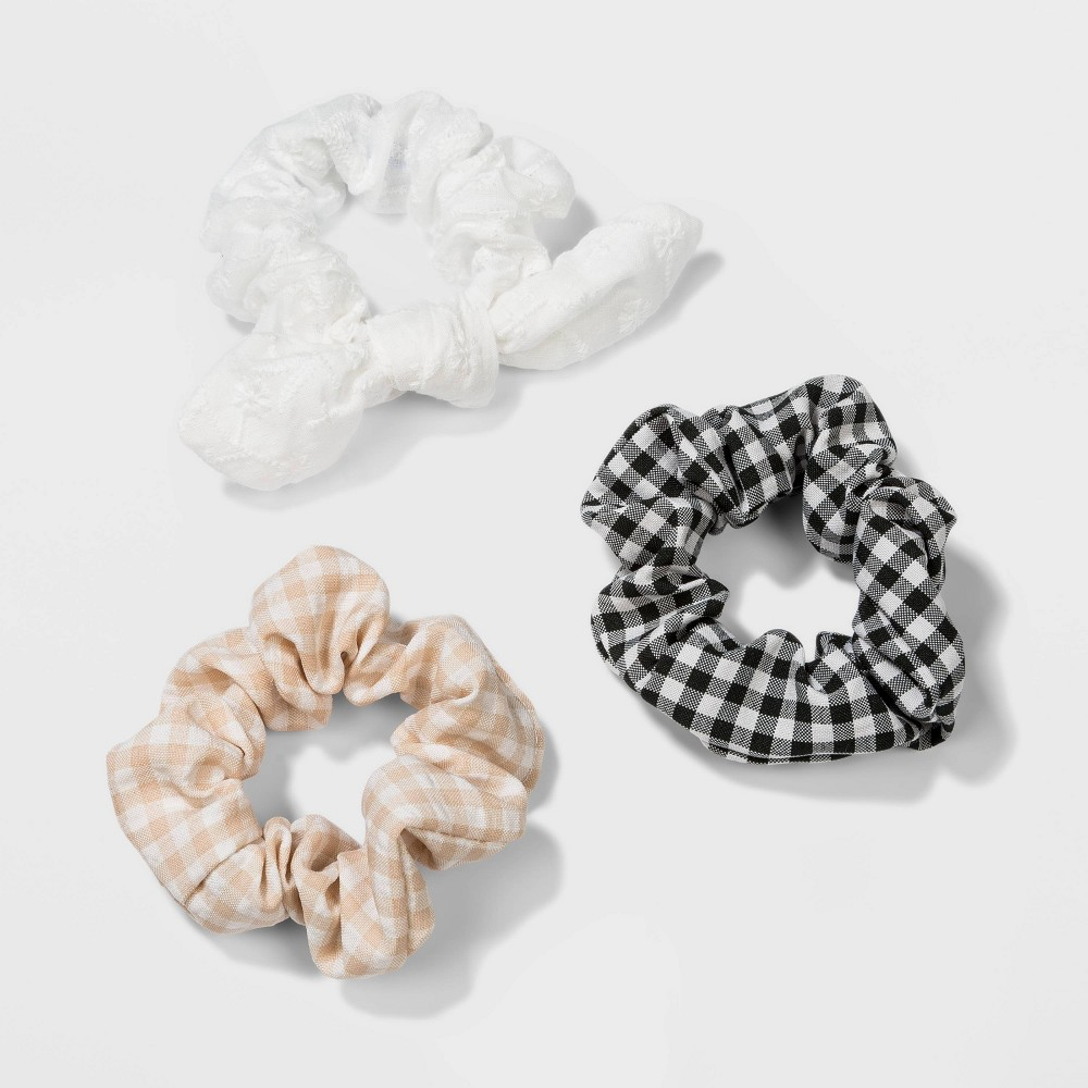 Vintage Hair Accessories: Combs, Headbands, Flowers, Scarf, Wigs Gingham Embroidery Twister with Bow Hair Elastics - Wild Fable $6.00 AT vintagedancer.com