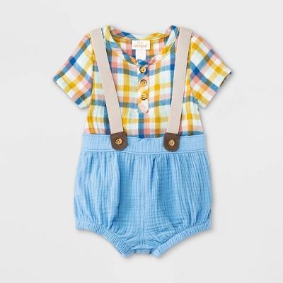 Baby Boys' Plaid Gauze Top & Bottom Set - Cat & Jack™ Blue