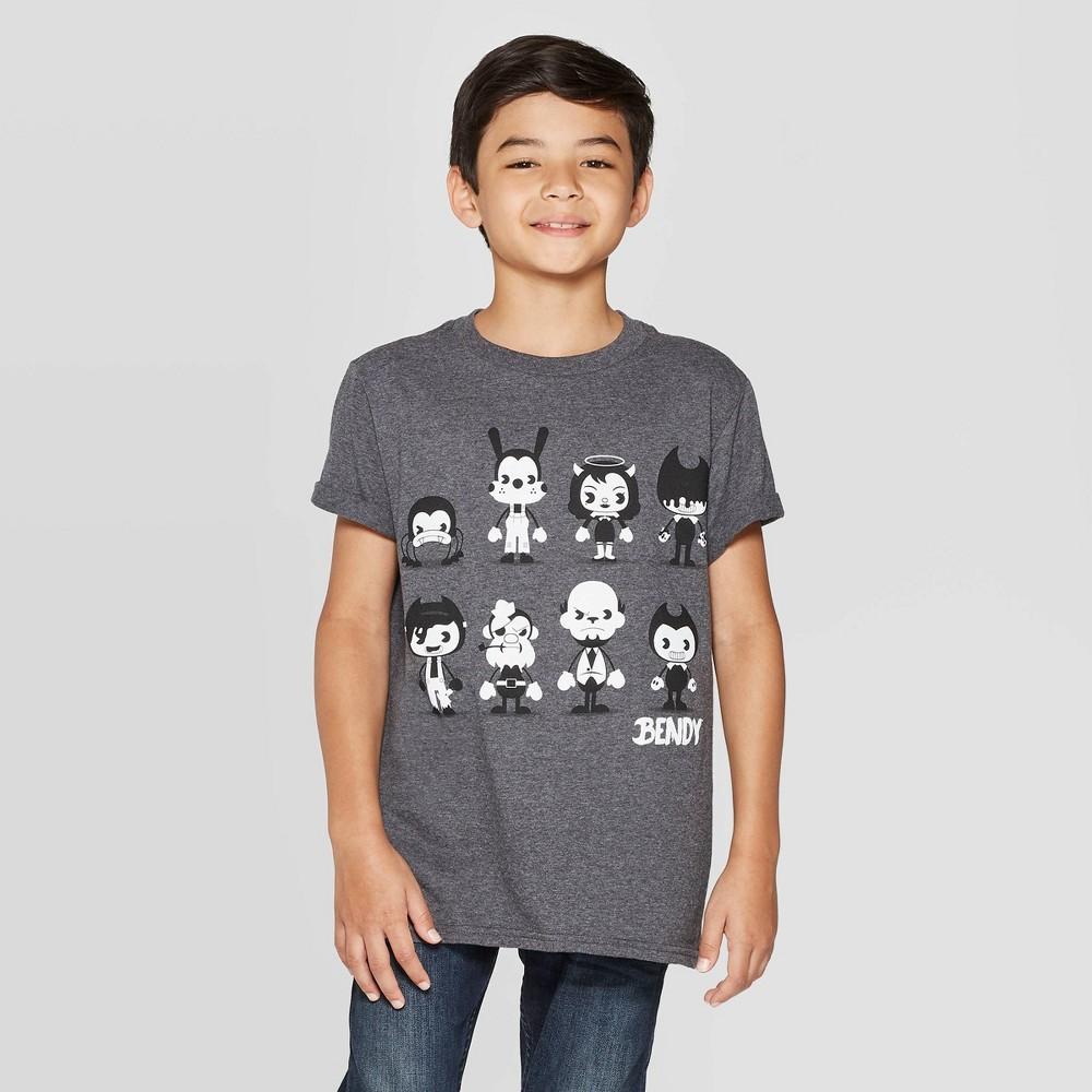 Image of petiteBendy and the ink Machine Boys' Short Sleeve T-Shirt - Gray L, Boy's, Size: Large