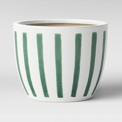 9  Vertical Striped Earthenware Planter Green - Threshold™